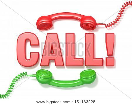 Call sign. Retro red and green phone receivers. 3D render illustration isolated on white background
