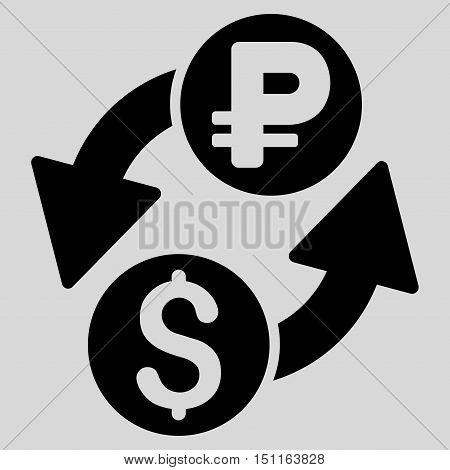 Dollar Rouble Exchange icon. Glyph style is flat iconic symbol with rounded angles, black color, light gray background.