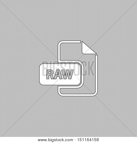 RAW Simple line vector button. Thin line illustration icon. White outline symbol on grey background