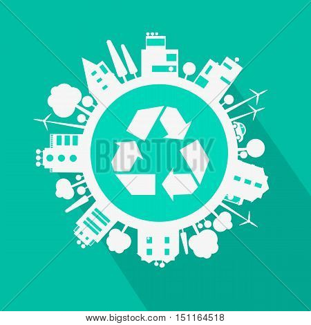 Vector eco city, town concept with ecology icons