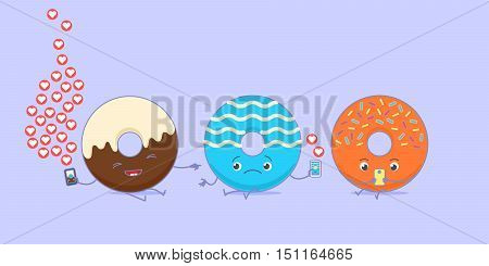 Kawaii donuts using social media. One of them is happy with a huge amount of appreciations, other one is sad with small amount. Third one is looking at smartphone.