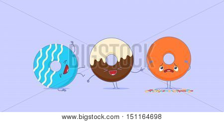 Two kawaii donuts is laughing at another one because its sprinkles has fallen.