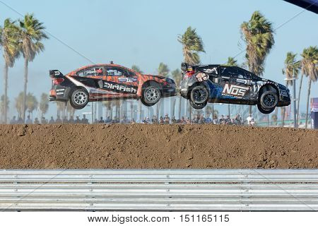David Hiddins 75, And Brian Deegan 38, Jumping During The Red Bull Global Rallycross