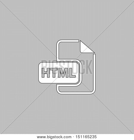 html Simple line vector button. Thin line illustration icon. White outline symbol on grey background
