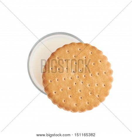 Glass of milk and cookie composition isolated over the white background