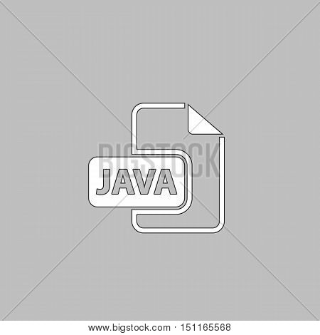 JAVA Simple line vector button. Thin line illustration icon. White outline symbol on grey background