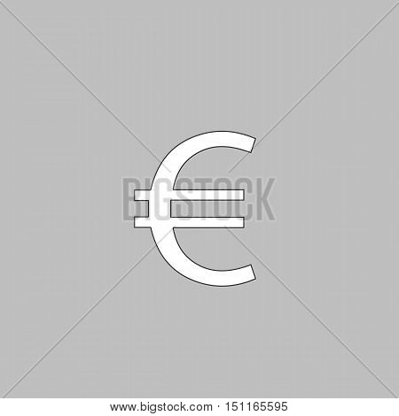 Euro Simple line vector button. Thin line illustration icon. White outline symbol on grey background
