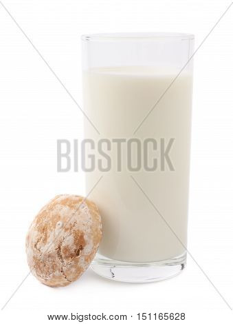Glass of milk and gingerbread  cookie composition isolated over the white background