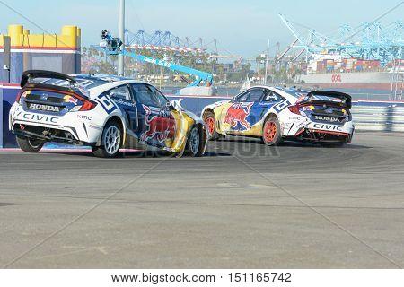 Joni Wiman 31 And Sebastian Eriksson 93. Battle For Position During The Red Bull Global Rallycross