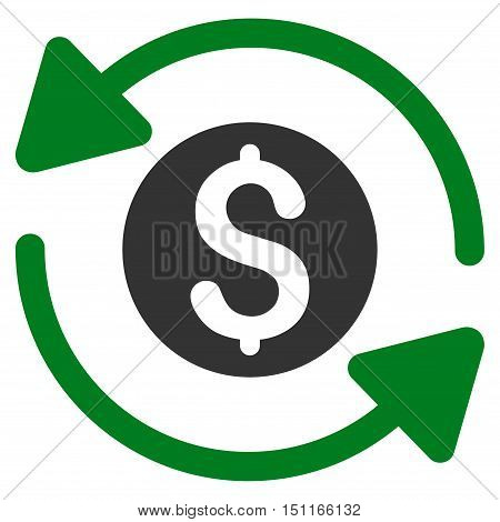 Money Turnover icon. Glyph style is bicolor flat iconic symbol with rounded angles, green and gray colors, white background.