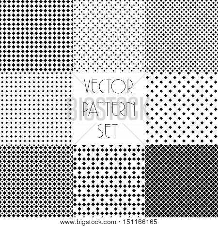 Simple geometric patterns. Seamless repeating vector collection. Black and white texture set with rhombus. Monochrome minimalistic background.