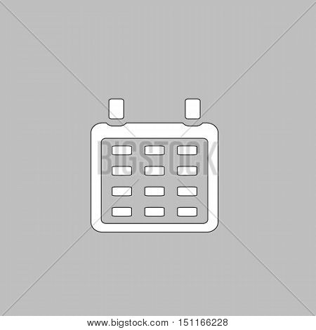 Calendar Simple line vector button. Thin line illustration icon. White outline symbol on grey background
