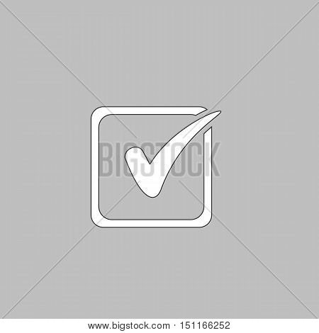 Checklist Simple line vector button. Thin line illustration icon. White outline symbol on grey background
