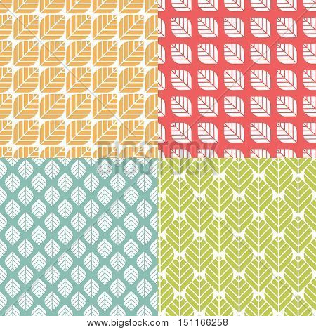 Retro geometric floral pattern. Simple repeating texture with leaves. Minimalistic colorful background. Seamless vector flat design with naturalistic motif.