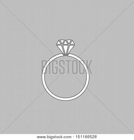 Diamond ring Simple line vector button. Thin line illustration icon. White outline symbol on grey background