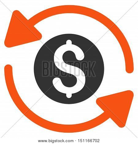 Money Turnover icon. Glyph style is bicolor flat iconic symbol with rounded angles, orange and gray colors, white background.