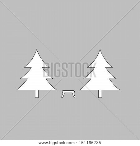 Camping  Simple line vector button. Thin line illustration icon. White outline symbol on grey background