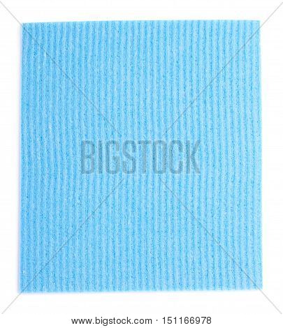 Blue new kitchen cleaning napkin rag over white isolated background