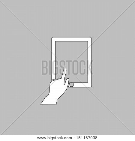 click tablet Simple line vector button. Thin line illustration icon. White outline symbol on grey background