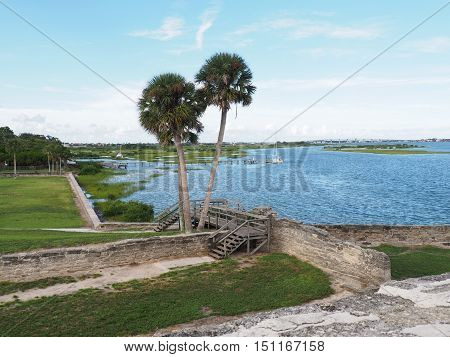 View of Matanzas Bay from the fort in St. Augustine Florida.