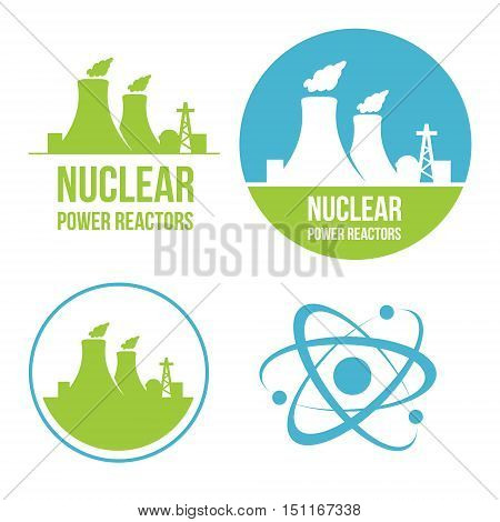 nuclear atom power reactor logo set collection