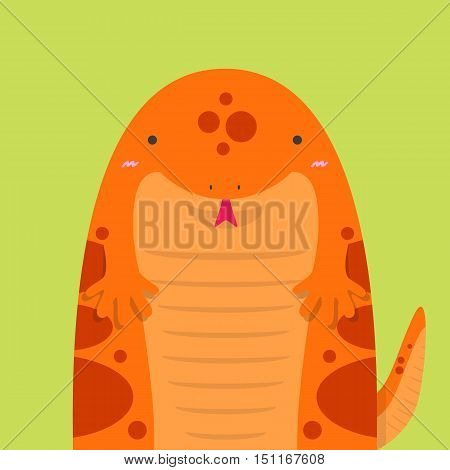 cute big fat red salamander on light green background