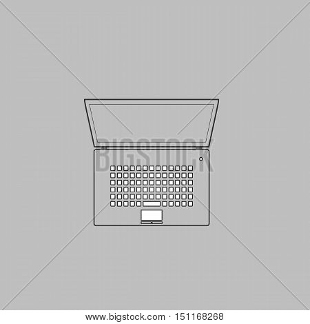 netbook Simple line vector button. Thin line illustration icon. White outline symbol on grey background