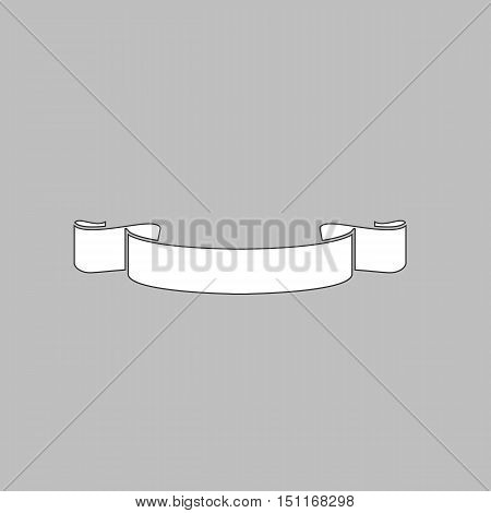 Banner ribbon Simple line vector button. Thin line illustration icon. White outline symbol on grey background