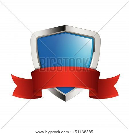 shield icon with red ribbon isolated on white background