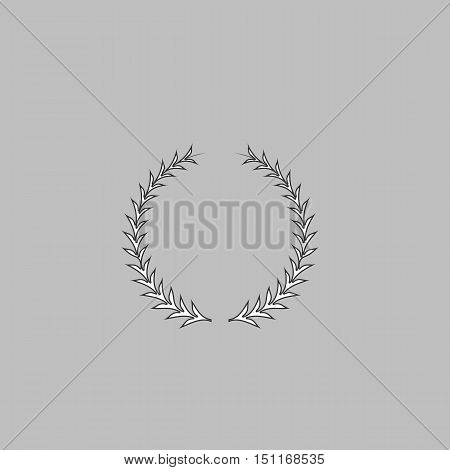 laureate wreath Simple line vector button. Thin line illustration icon. White outline symbol on grey background