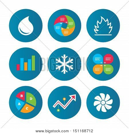 Business pie chart. Growth curve. Presentation buttons. HVAC icons. Heating, ventilating and air conditioning symbols. Water supply. Climate control technology signs. Data analysis. Vector