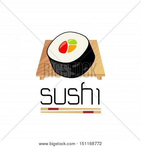 sushi food icon logo design isolated on white