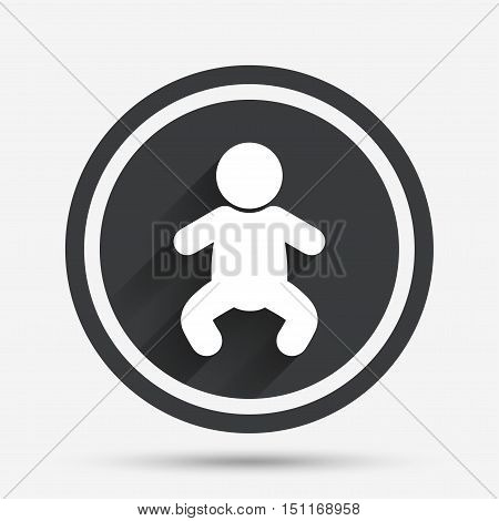 Baby infant sign icon. Toddler boy in pajamas or crawlers body symbol. Child WC toilet. Circle flat button with shadow and border. Vector