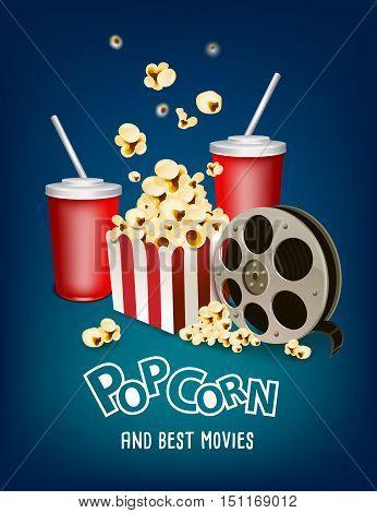 pop corn and cinema strip poster design