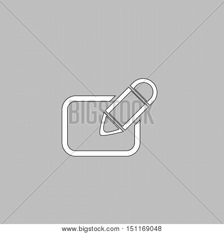 Registration Simple line vector button. Thin line illustration icon. White outline symbol on grey background