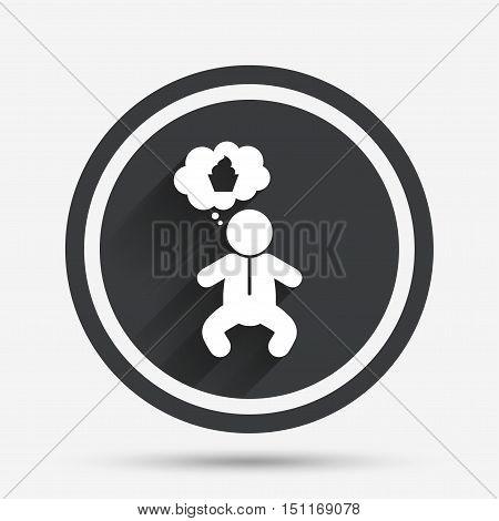 Baby infant think about food sign icon. Toddler boy in pajamas or crawlers body symbol. Circle flat button with shadow and border. Vector