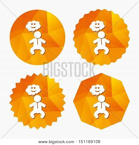 Baby infant happy think sign icon. Toddler boy in pajamas or crawlers body symbol. Triangular low poly buttons with flat icon. Vector