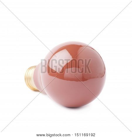 Single electric red bulb lying on its side, isolated over the white background