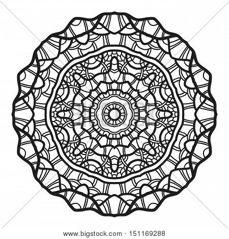 Decorative round ornament. Lace. Silhouette of snowflake isolated on background. Vector illustration