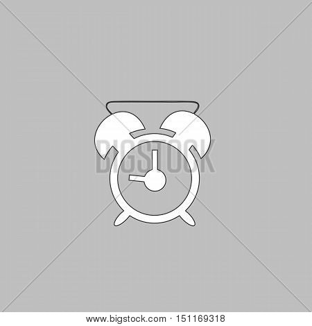 alarm clock Simple line vector button. Thin line illustration icon. White outline symbol on grey background