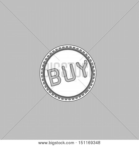 Buy Simple line vector button. Thin line illustration icon. White outline symbol on grey background