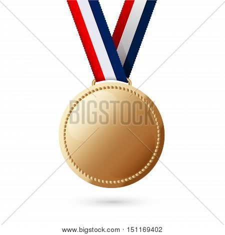 gold  medal isolated on white background . Vector illustration