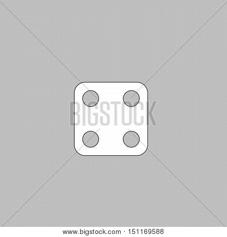 Dice Cube Simple line vector button. Thin line illustration icon. White outline symbol on grey background