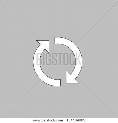 rotation arrows Simple line vector button. Thin line illustration icon. White outline symbol on grey background