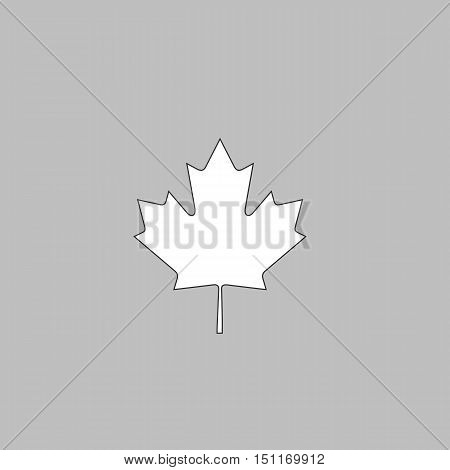 Canadian Leaf Simple line vector button. Thin line illustration icon. White outline symbol on grey background