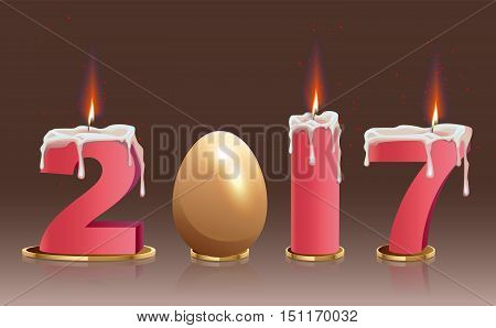 2017 burning candles and golden egg. Illustration in vector format