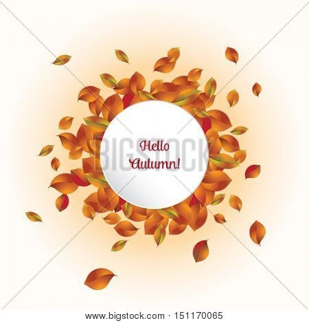 A frame of realistic autumn leaves surrounding a white paper circular banner with the text Hello Autumn.