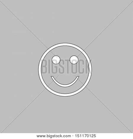 Happy face Simple line vector button. Thin line illustration icon. White outline symbol on grey background