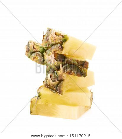 Stack of raw fresh pineapple slices isolated over white background