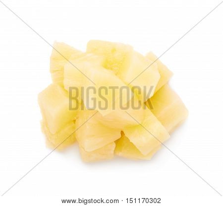 Pile of canned pineapple pieces over isolated white background
